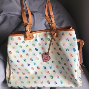 Dooney and Bourke Cream & Chestnut Multicolor Tote